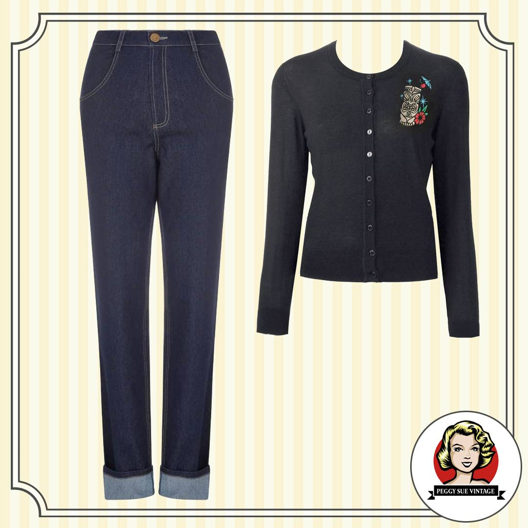Lässiger Vintage-Style mit Highwaist-Jeans und Cardigan