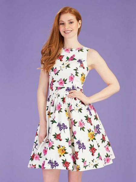 Lady V London Kleid Tea Dress Gossamer Rose