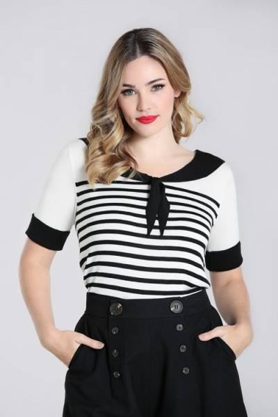 Hell Bunny Pullover Coco Top schwarz weiß