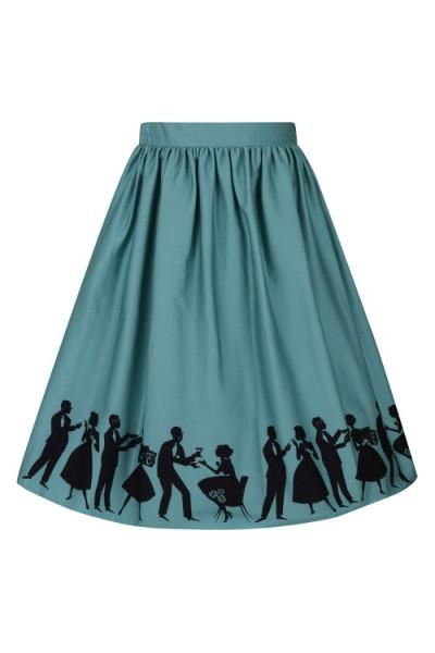 Lady V London Rock Circle Skirt 50s Border graublau
