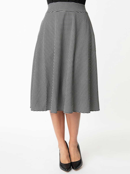 Unique Vintage Rock Vivien Swing Skirt Houndstooth