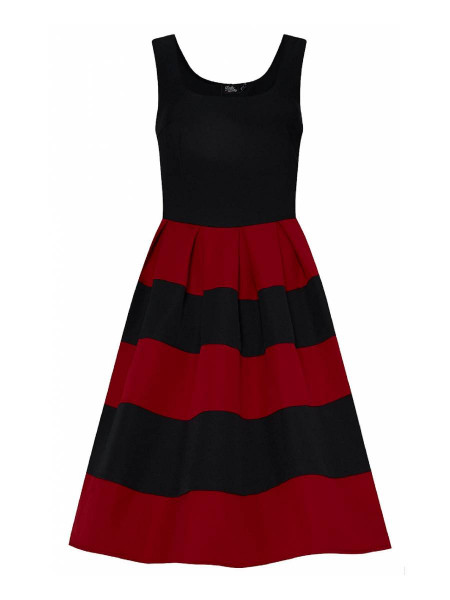 Dolly & Dotty Kleid Anna Burgundy Black Streifen