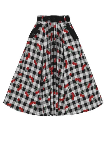 Collectif Rock Dakota Gingham Cherries Swing Skirt
