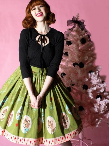 The Oblong Box Shop Rock Deer Holidaze Gathered Skirt