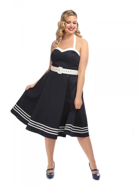 Collectif Kleid Georgie Nautical Swing Dress dunkelblau